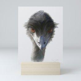 Suspicious Emu Stare, watercolor Mini Art Print