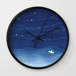 Follow the garland of stars, ocean, sailboat Wall Clock