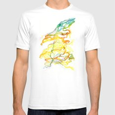 Iceland Abstracted #6 MEDIUM White Mens Fitted Tee