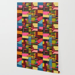 Colors in Collision 2 - Geometric Abstract in Blue Yellow Pink and Green Wallpaper