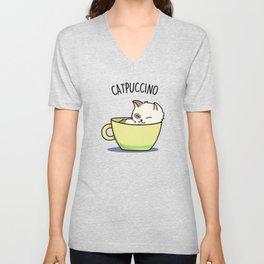Catpuccino Cute Cappuccino Coffee Cat Pun Unisex V-Neck