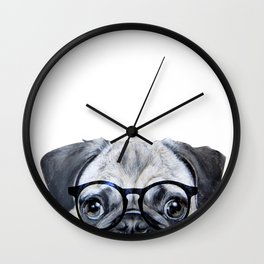 Pug with glasses Dog illustration original painting print Wall Clock