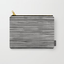 Skinny Stroke Horizontal Black on Off White Carry-All Pouch