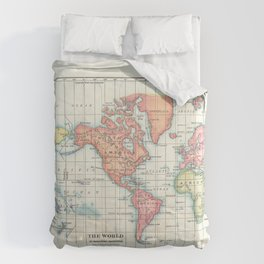 World Map - Colorful Continents Comforters