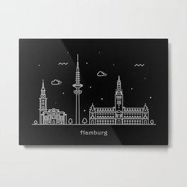 Hamburg Minimal Nightscape / Skyline Drawing Metal Print