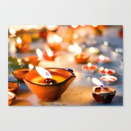 Diwali oil lamps Canvas Print