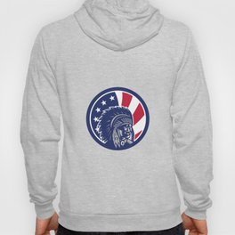 Native American Indian Chief USA Flag Icon Hoody