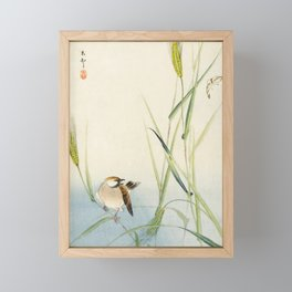 Sparrow and Butterfly  - Vintage Japanese Woodblock Print Art Framed Mini Art Print
