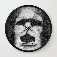 island Wall Clocks featuring Easter island - Moai statue - Ink by Nicolas Jolly