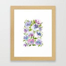 Pink and Purple Peonies Pattern Framed Art Print