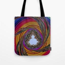 orange, purple, PSYCHEDELIC SPIRAL, MANDELBROT fractal Tote Bag