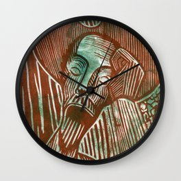 Don Quixote in Green and Rust Wall Clock