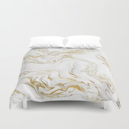 Liquid gold marble Duvet Cover