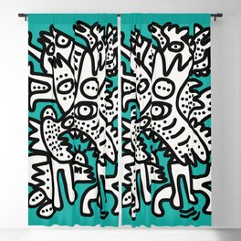 Green Acqua Street Art Black and White Creatures Blackout Curtain