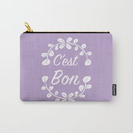 Inspirational French Quote with Leaves in Pastel Purple Carry-All Pouch