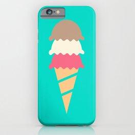 Neopolitan Three Scoop Ice Cream Cone iPhone Case