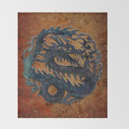 Blue Chinese Dragon on Stone Background Throw Blanket