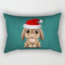 Cute Floppy Eared Baby Bunny Wearing a Santa Hat Blue Rectangular Pillow