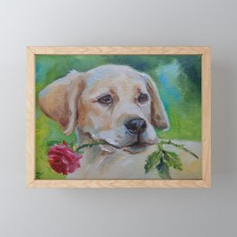 Labrador Dog with rose flower Cute puppy portrait Pet painting Valentine's Day gift for Dog Lover Framed Mini Art Print