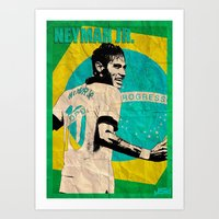 neymar Art Prints featuring Neymar by John Sideris