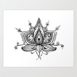 Lotus flower in the doodle art Art Print