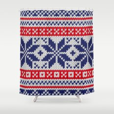Winter knitted pattern 7 Shower Curtain