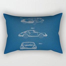 Porsche 911 Blue Patent Rectangular Pillow