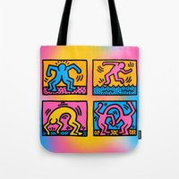 keith haring Tote Bags featuring Keith Haring Pop Shop Quad by cvrcak