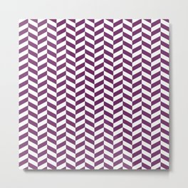 Byzantium Purple Herringbone Pattern Design Metal Print