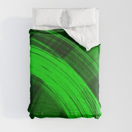 Bright pillars of green light from flowing lines on dark fabric. Comforters
