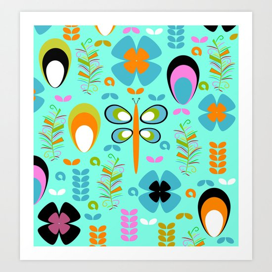 Dragonfly in the garden Art Print