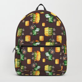 Watercolor Tractors Farm Life Pattern Brown Backpack