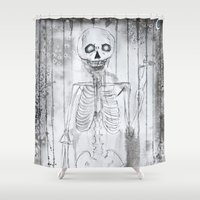 skeleton Shower Curtains featuring Skeleton by Rebecca Peloquin
