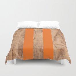 Wood Grain Stripes - Orange #840 Duvet Cover