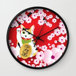 Sakura Maneki Neko Wall Clock