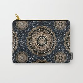 Black and White Sparkles & Rose Gold Mandala Textile Carry-All Pouch