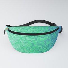 Deep Sea Green Blue Pixilated Gradient Fanny Pack