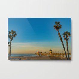 Palm Framed Pier Metal Print