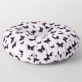 Black and pink butterflies Floor Pillow
