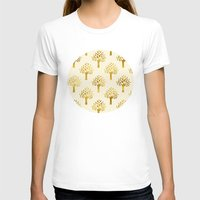 gold foil T-shirts featuring Cream Gold Foil 02 by Aloke Design