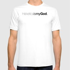HelveticaismyGod Mens Fitted Tee White MEDIUM