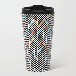Herringbone Blue and Black #3 Travel Mug