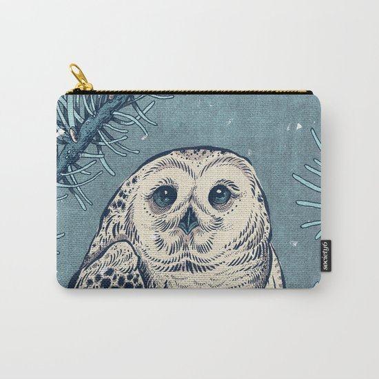 Winter Snowy Owl Carry-All Pouch