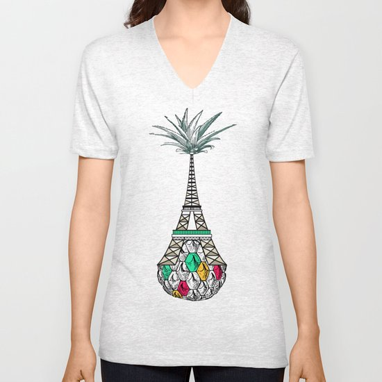 Pineapple architecture 4 : Eiffel Tower Unisex V-Neck