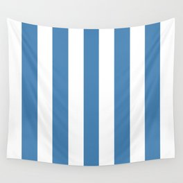 Steel blue - solid color - white vertical lines pattern Wall Tapestry