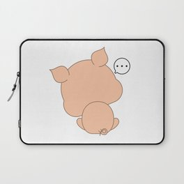 Cute funny cartoon pig - Don't want to face Laptop Sleeve