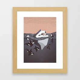 Pod of Orca (Killer Whales) spying on a small tent on an iceberg, under snowy pink sky Framed Art Print