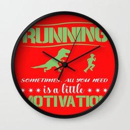 Race Motivation Dinosaur Lusitg Gift Wall Clock