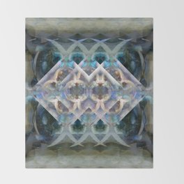 Abstract Multi-Colored Fractal (Night) Throw Blanket