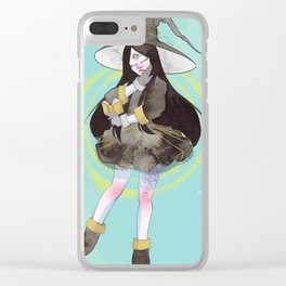 The witch with a spell book Clear iPhone Case